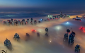 Picture the sky, the city, fog, Dubai, Dubai, UAE