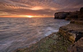Wallpaper water, the sun, sunset, stones, shore