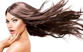 Picture look, girl, model, makeup, hair long, Anna Subbotina