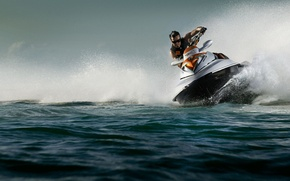 Wallpaper squirt, water, man, jet ski