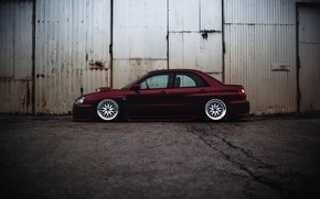 Picture Subaru, Impreza, WRX, Red, side, STI, JDM, Wheels