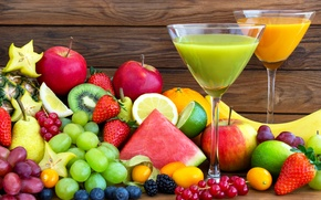 Picture photo, Glasses, Strawberry, Watermelons, Fruit, Grapes, Apples, Food, Juice