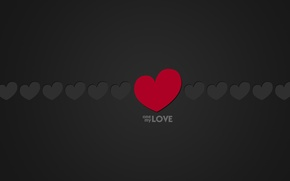 Picture Love, Minimalism, Black, Love, Heart, Hearts, Background, The inscription, One, Words, Text, My, One