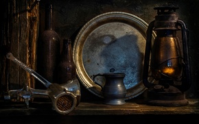 Picture lamp, bottle, tray, chopper, When time passes by