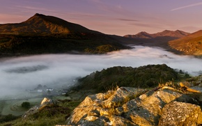 Picture forest, light, mountains, fog, England, morning, valley, Wales, Wales, United Kingdom, the first rays, kahani, …