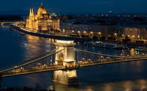 Picture night, lights, river, home, lights, bridges, promenade, Palace, piers, Hungary, Budapest, The Danube