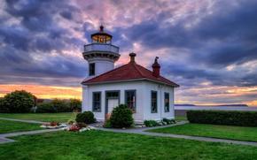 Picture sunset, flowers, coast, lighthouse, Washington, the bushes, Washington, beds, lawns, Clinton, Tulalip Bay, Clinton, Mukilteo ...