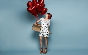 Picture girl, pose, balloons