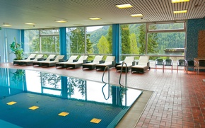 Picture windows, pool, room, interior