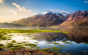 Picture the sky, grass, water, landscape, mountains, nature, lake, Italy