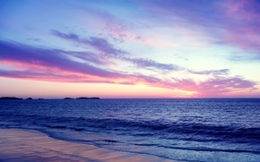Picture sea, the sky, clouds, sunset, shore