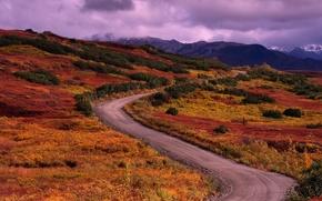 Wallpaper road, grass, 156, mountains, clouds
