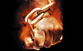 Picture flame, black, background, fire, hand, chain, fist