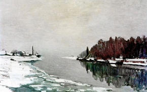 Picture winter, landscape, picture, Claude Monet, The ice on the Banks of the Seine