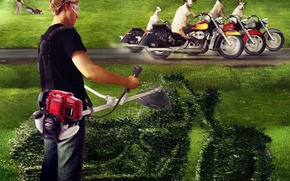 Picture grass, motorcycles, goats, lawnmower