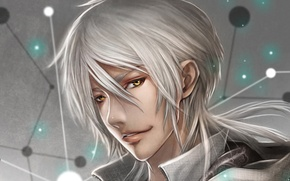 Picture guy, white hair, grin, amber eyes, PSYCHO-PASS, Makishima Shougo