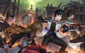 Picture girls, blood, sword, anime, art, guy, characters, Sword art online, Sword Art Online, Asuna, Kirito