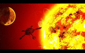 Picture sun, spaceship, observer