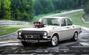 Picture tuning, supercharger, muscle car, tuning, Volga, Muscle car, Gas 24, Khyzyl Saleem, Speedway