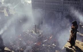 Picture smoke, the crowd, assassin, Assassin's Creed: Unity, Assassin's Creed: Unity, Arno Dorian, the French revolution