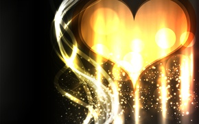 Picture love, abstraction, glare, bright, heart, vector, gold, Golden heart
