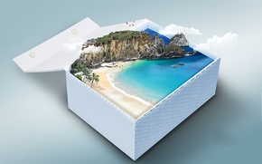 Picture beach, box, clouds, island, gift, boats, cliff, seagulls, coconuts, cove