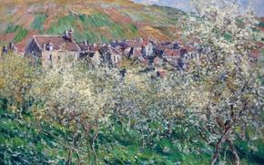 Picture landscape, picture, Claude Monet, Plum in Bloom at Vétheuil
