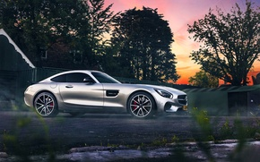 Picture Mercedes-Benz, AMG, Color, Sunset, Beauty, Smoke, Supercar, Silver, 2015, Ligth, GT S