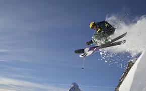 Picture jump, mountain, snow, ski, skiing, extreme sport