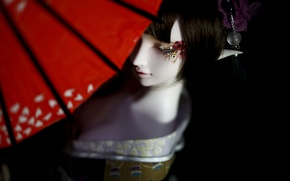 Picture girl, elf, doll, umbrella, kimono, BJD