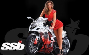 Picture look, background, Girls, standing over a sports bike, beautiful girl in red