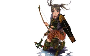Picture Naval Collection, the plane, Kantai Collection, super-weapons, white background, Zuikaku, armor, bow