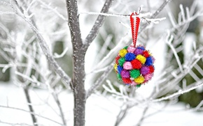 Picture winter, snow, branches, tree, toy, New Year, Christmas, decoration, Christmas, holidays, New Year
