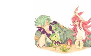 Picture forest, mood, dandelion, minimalism, anime, girl, guy, hedgehog, Cheerful forest friends, Flaky, Happy Tree Friends, …