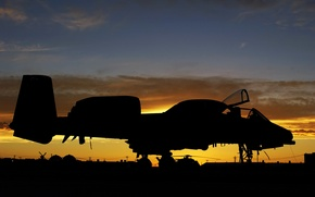Picture Sunset, A-10, USAF, Thunderbolt II, Aircraft, Airbase