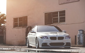 Picture white, bmw, BMW, puddle, white, the front, f10, daylight, 550i