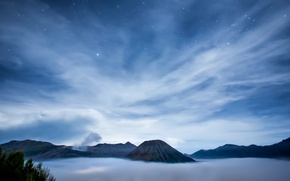 Picture sea, the sky, stars, clouds, night, island, the volcano, Indonesia, Java