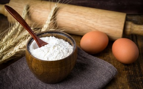 Picture eggs, spikelets, flour, rolling pin