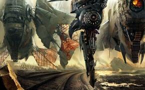 Picture rocks, smoke, planet, art, ruins, spaceships, Daniel Dociu