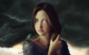 Picture girl, clouds, bird, hair, art, Rasoul Ahmadi