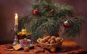 Picture toys, candle, cookies, Cup, pine, nuts