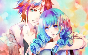 Picture girl, art, pair, guy, blue hair, aiki-ame, red beads