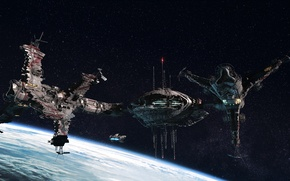 Picture surface, space, planet, ships, stars, station