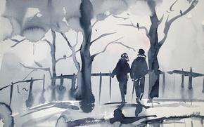Wallpaper pair, trees, watercolor