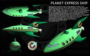 Wallpaper Futurama, ship, planet express