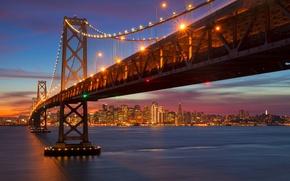 Picture night, the city, lights, Strait, the evening, Bay, San Francisco, USA, California, the Bay bridge