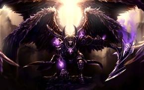 Wallpaper weapons, wings, glow, armor, art, braid, God of Death, Thanatos