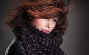 Picture look, girl, scarf, brown hair, John Bouma