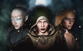 Picture look, rendering, girls, elf, hood, decoration