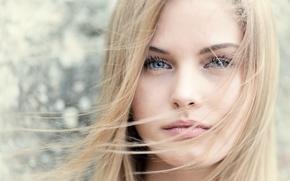 Wallpaper portrait, bokeh, girl, blonde, face, hair